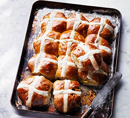 Lemon & marzipan hot cross buns