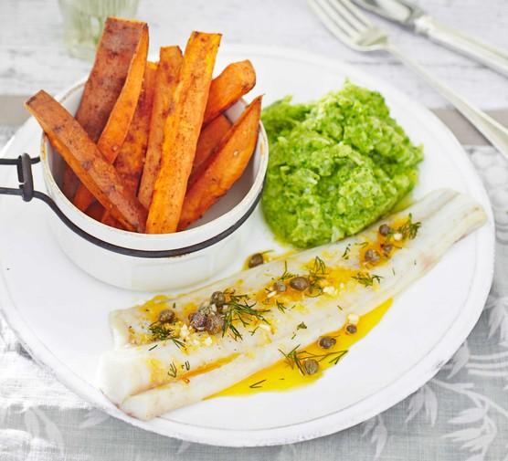 Lemon pollock with sweet potato chips & broccoli mash