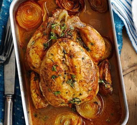 Lemon roast chicken with chorizo stuffing
