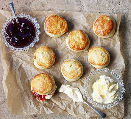 A selection of lemonade scones with jam and clotted cream