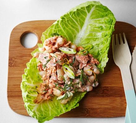 Lemony salmon & lettuce wraps