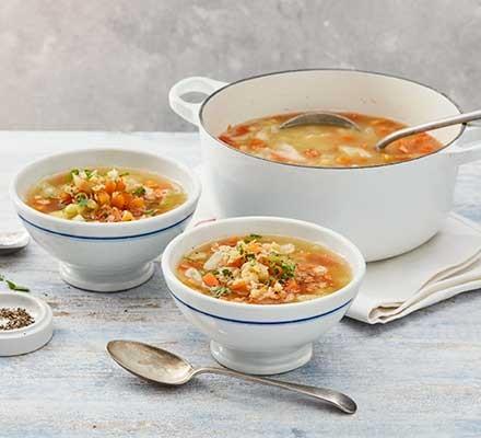 Lentil soup served in bowls