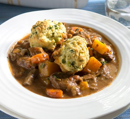 Lighter beef stew & dumplings