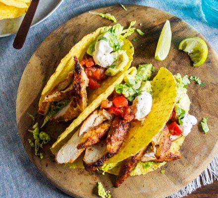 Lighter Chicken Tacos Recipe Bbc Good Food
