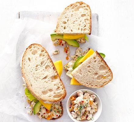Lighter Coronation chicken & avocado sandwich
