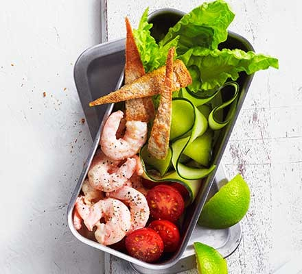 Lime prawn cocktail pitta salad served in tupperware