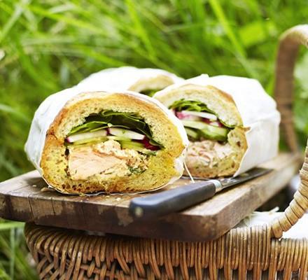 Hot-smoked salmon picnic loaf