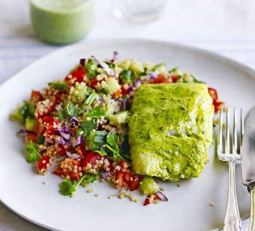 Spiced cod with quinoa salad & mint chutney