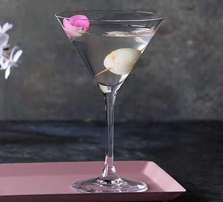 Lychee martini served in a martini glass
