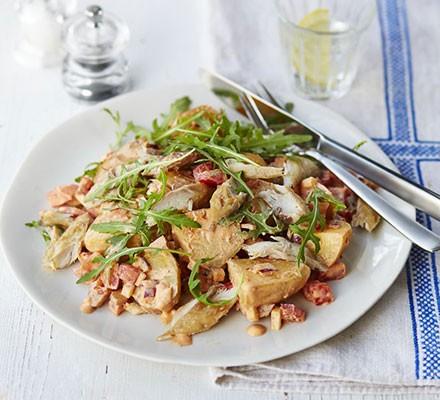 Smoked mackerel & harissa potato salad