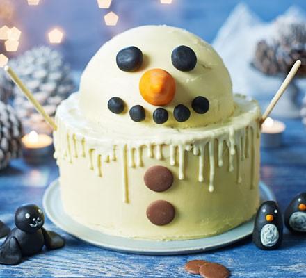 Malted milk melting snowman cake