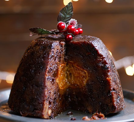 Mandarin-in-the-middle Christmas pud