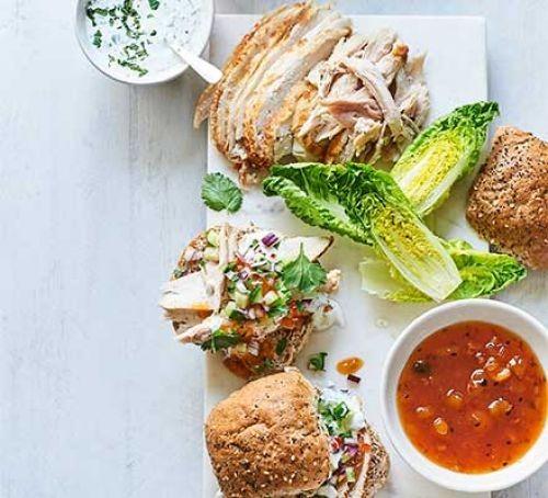 Chicken and mango chutney sandwiches with salad