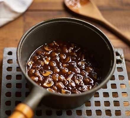 A pan with marsala sauce