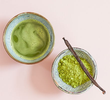 Matcha with vanilla served in a bowl