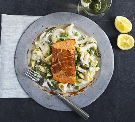 Simple salmon with spring pasta
