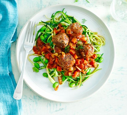 Meatballs with fennel & balsamic beans & courgette noodles