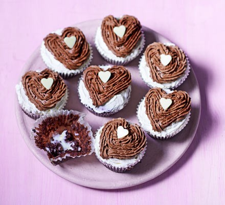 Chocolate heart cupcakes on plate