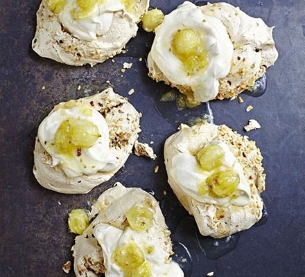 Brown sugar meringues with gooseberry compote & cream