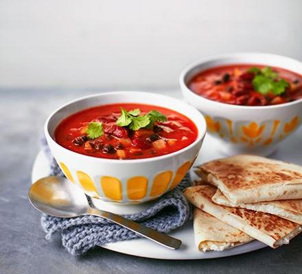 Mexican bean soup with crispy feta tortillas