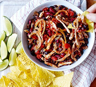 Beans and tortilla chips