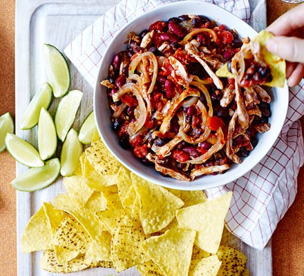 Mexican pulled chicken & beans
