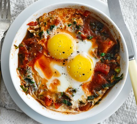 Microwave Kale Chilli Eggs Recipe Bbc Good Food