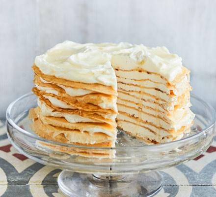 Lemon crepe cake on stand