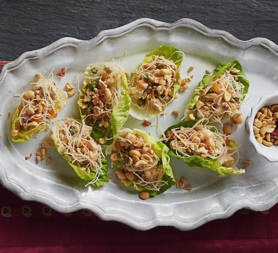 Minced chicken & prawn lettuce parcels