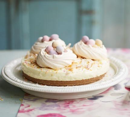 No bake meringue nest cheesecake with mini eggs