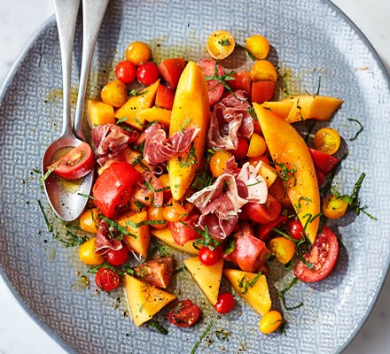 Minted melon, tomato & prosciutto salad