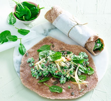Minted pea, goat's cheese & spinach wraps