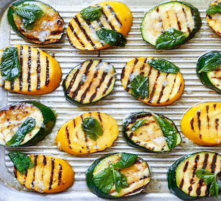 Minty griddled courgettes