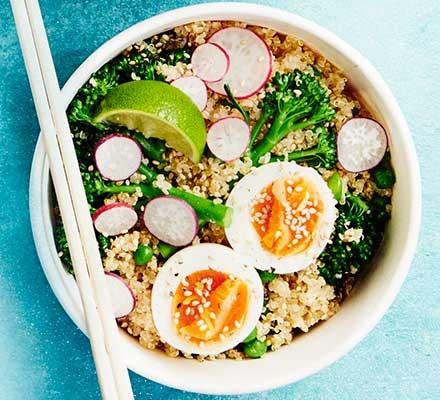 Miso broccoli, egg & quinoa salad served in a bowl