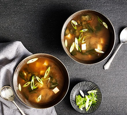 Miso soup served in two bowls
