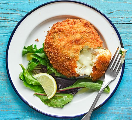 Fishcake with a melting middle, served with a salad