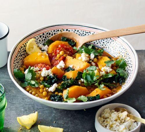Chickpea, squash and cavolo nero stew in a bowl