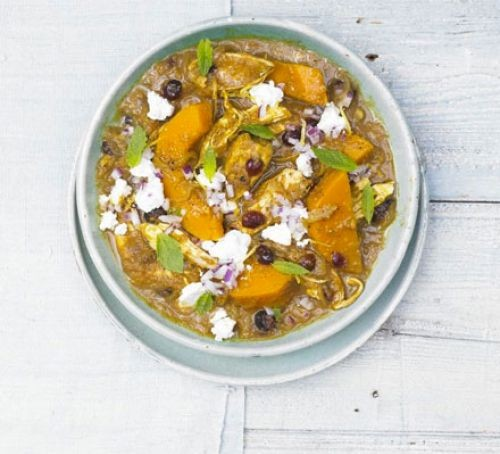 Chicken and sweet potato tagine in a pot