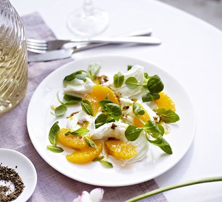 Mozzarella & orange salad with coriander seed dressing