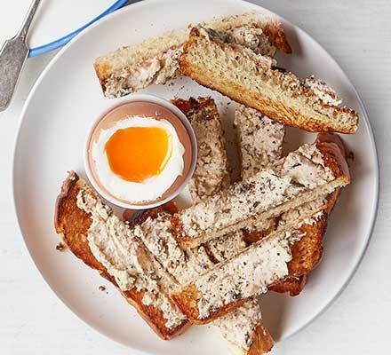 Mushroom brioche soldiers served with a dippy egg