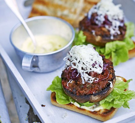 Smoky mushroom burgers with roasted garlic mayo