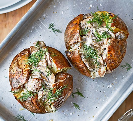 Two mushroom jacket potatoes