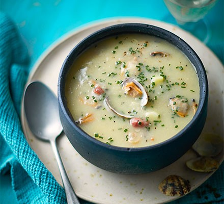 New England clam chowder served in a bowl