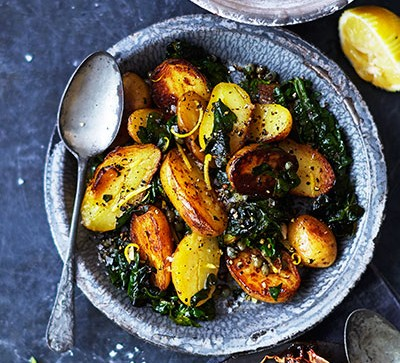 New potatoes with spinach & capers