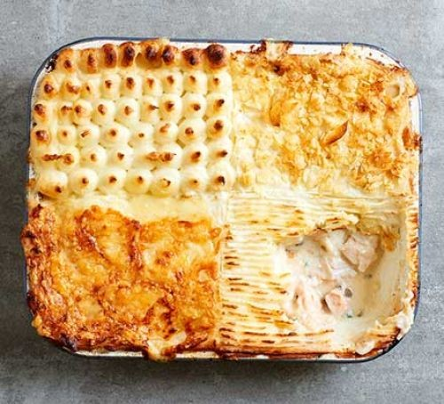 Fish pie with textured topping in rectangular dish