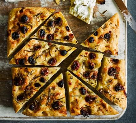 No-knead grape & rosemary focaccia