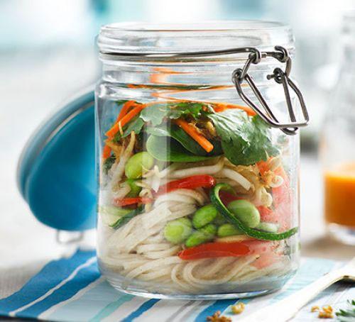 Noodles with vegetables in a kilner jar
