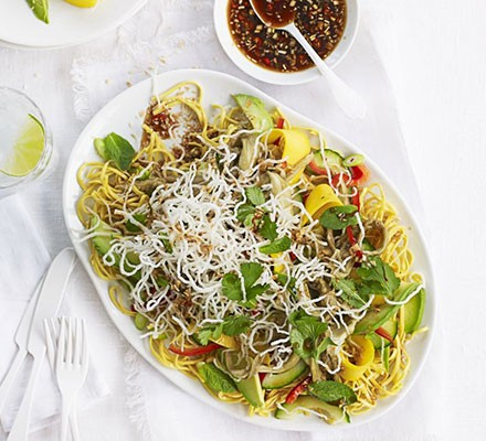 Veggie peanut noodles with coriander omelette ribbons