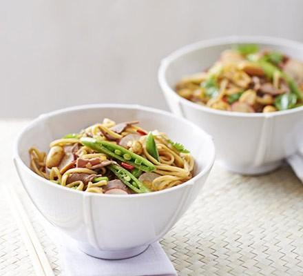 Beef noodle salad with stem ginger dressing