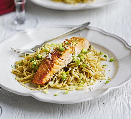 Salmon with sesame, soy & ginger noodles
